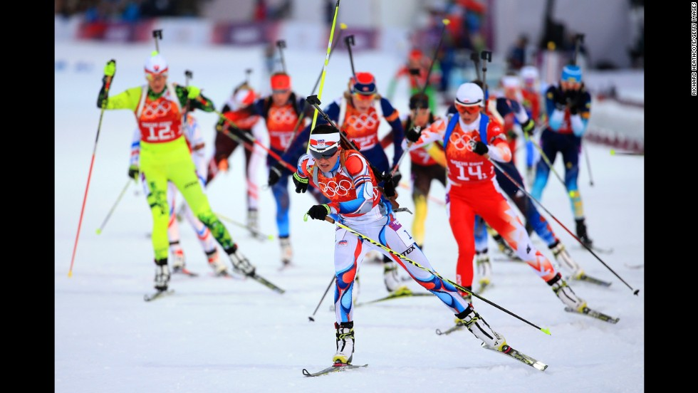Biathlete Veronika Vitkova of the Czech Republic leads the field in the mixed relay on February 19.