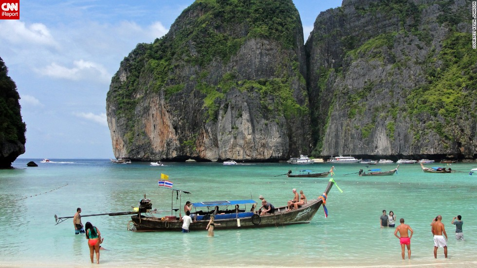"<a href=""http://ireport.cnn.com/docs/DOC-1083062"">Keith Johnson</a> says Maya Bay, on Ko Phi Phi Le island in Thailand, ""is by far the most beautiful place I have ever been in my travels."" The popular diving spot was also the prime filming location for the 2000 movie ""The Beach."""