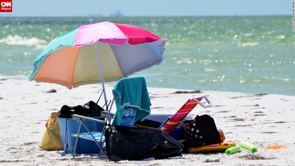 "And here we have all the trappings of a normal day at the beach. It still looks pretty great to us. Anclote Key sits off the Gulf Coast of Florida near Tarpon Springs and boasts ""clean white sand, aqua colored crystal clear water, lots of seabirds and shells to collect,"" as <a href=""http://ireport.cnn.com/docs/DOC-1083169 "">Caroline Newby</a> reported."