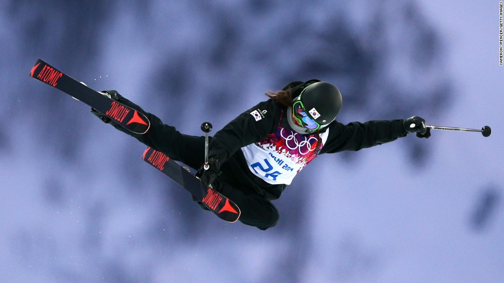 South Korean skier Hee-Jin Park competes in the women's halfpipe on February 20.