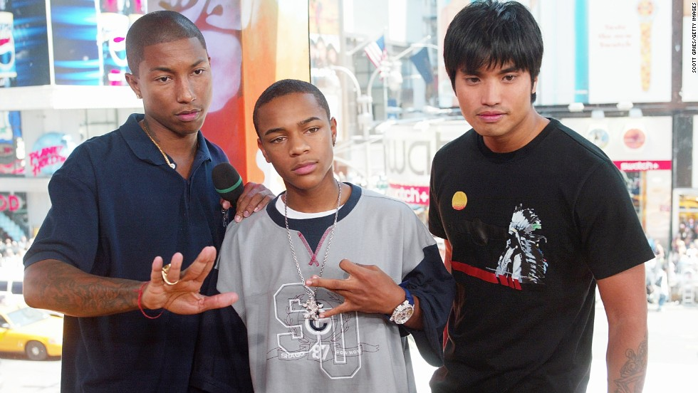 We know it's hard to tell, but Pharrell Williams, left, and rapper Bow Wow, center, actually aren't the same age. When this photo was taken in August 2003, Williams was 30 and Bow Wow was 16. (That's Williams' musical partner in crime, Chad Hugo of their production group The Neptunes, on the right.)