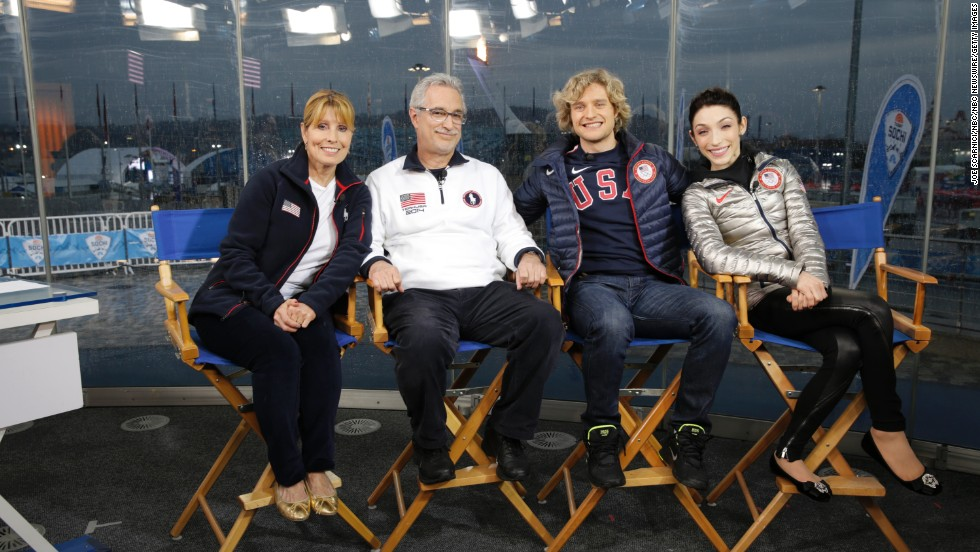 Jacqui White and Paul Davis pose with White's son and Davis' daughter, ice dancing partners and 2014 Olympic gold medal winners Charlie White and Meryl Davis.
