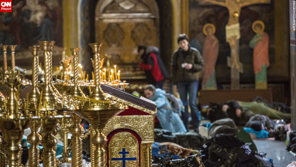 Protesters were offered shelter at he Mykhailovsky Cathedral in Kiev. The cathedral opened its doors for protesters wounded during the clashes with riot police Wednesday and Thursday.
