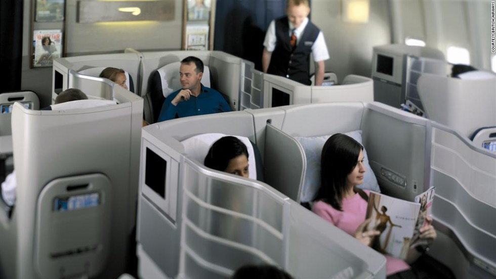 """<strong>4. British Airways</strong>. The airline's lie-flat seats have a distinctive """"Z"""" position that extends to 6 feet, 6 inches and is ideal for watching movies, and the carrier's lounges also garner top marks."""