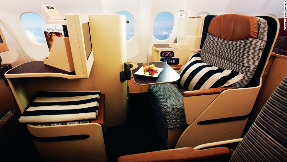 <strong>5. Etihad Airways. </strong>Etihad's Pearl business-class cabin features 6-foot-1-inch flat beds with privacy shells and direct aisle access from every seat; food and beverage managers for each passenger; and thoughtful touches like mood lighting to help ease jet lag.