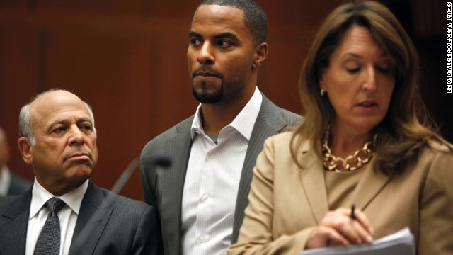 Darren Sharper appears in a Los Angeles court on February 14  to face rape charges. He faces separate rape charges in New Orleans.