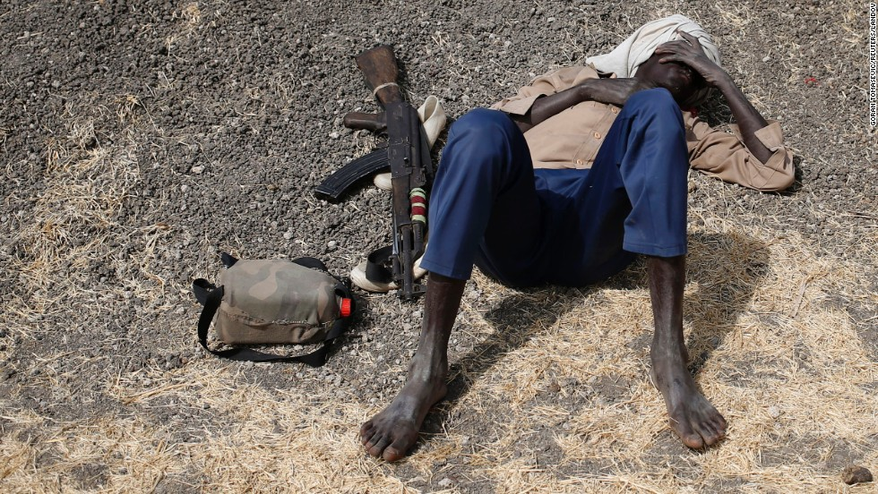 A rebel fighter takes a break after a long walk on February 15 in Upper Nile, South Sudan. After decades of war, South Sudan seceded from Sudan in 2011, making it the world's youngest nation. Since then, South Sudan has become embroiled in its own internal conflict.