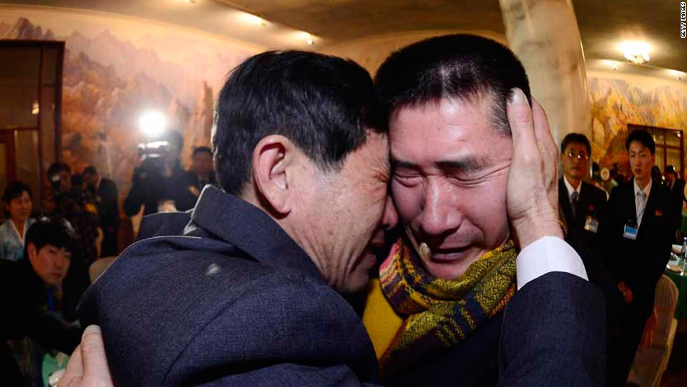 South Korean Park Yang-Gon (L) meets with his North Korean brother Park Yang-Soo. Without any regular forms of communications between the two Koreas, the family members have gone decades without contact.