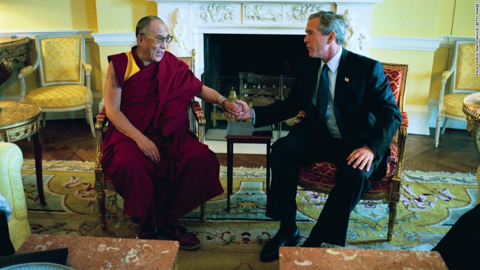 President George W. Bush meets the Dalai Lama at the White House in September 2003.