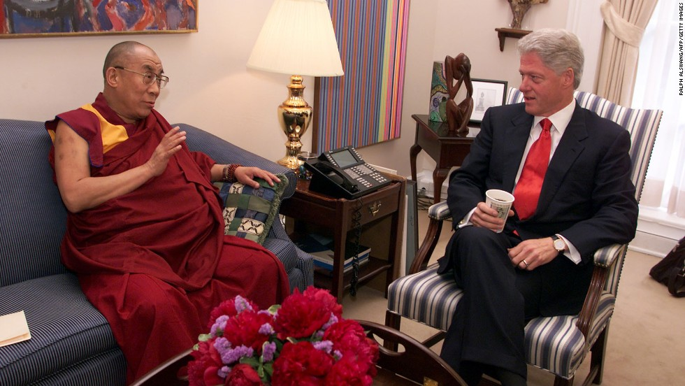 President Bill Clinton meets with the Dalai Lama at the White House in June 2000.