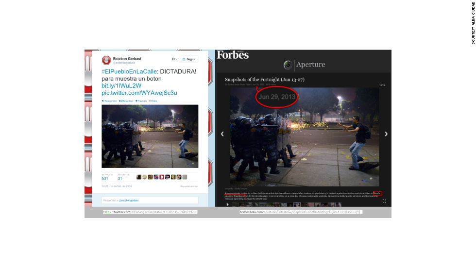 "Political analyst Esteban Gerbasi tweeted this photo, calling it an example of dictatorship. The Getty photo shows <a href=""http://www.cnn.com/2013/06/18/world/americas/brazil-protests/"">police firing rubber bullets</a> at a protester during clashes in Rio de Janeiro on June 20."