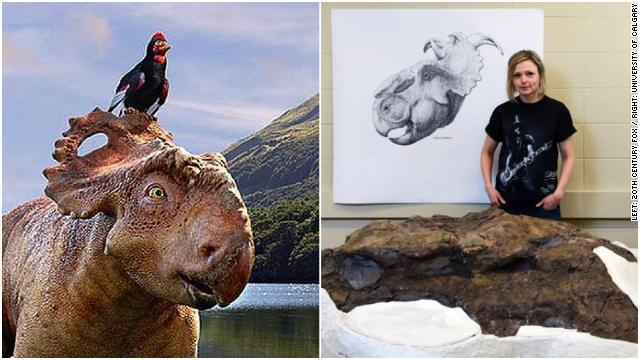 """Researchers have discovered a massive, mostly intact skull of a Pachyrhinosaurus, a dinosaur seen in the 20th Century Fox film """"Walking with Dinosaurs"""" (left)."""