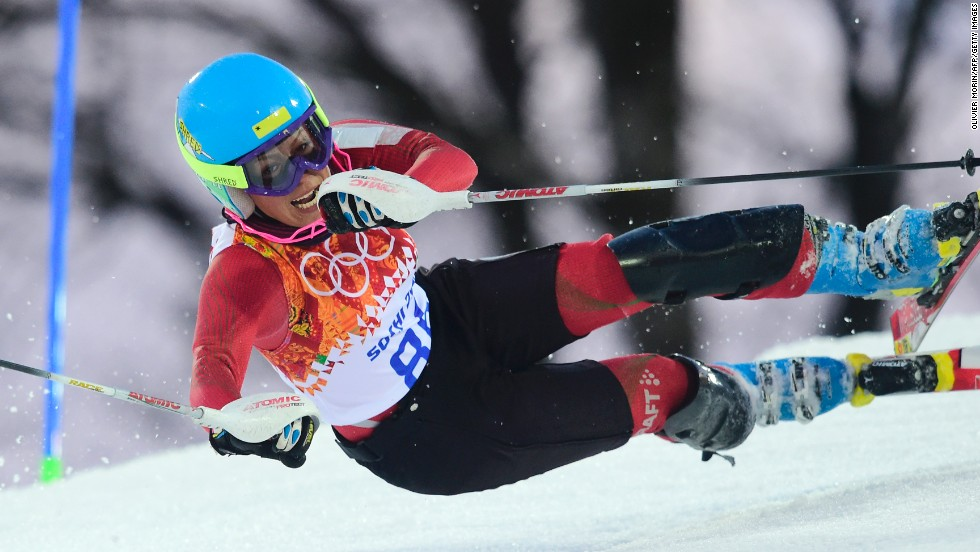 Iranian skier Forough Abbasi falls during the women's slalom on February 21.