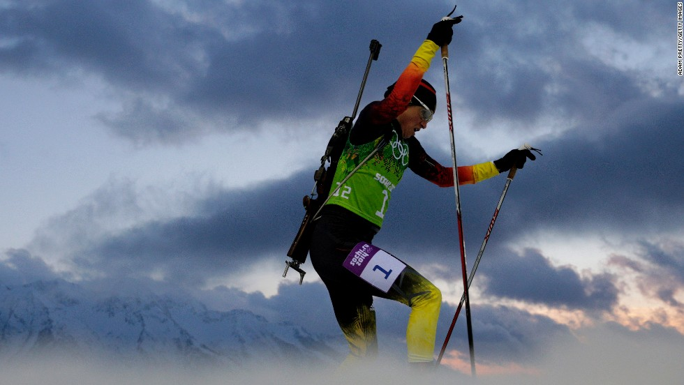 German biathlete Andrea Henkel competes during the women's relay on February 21.