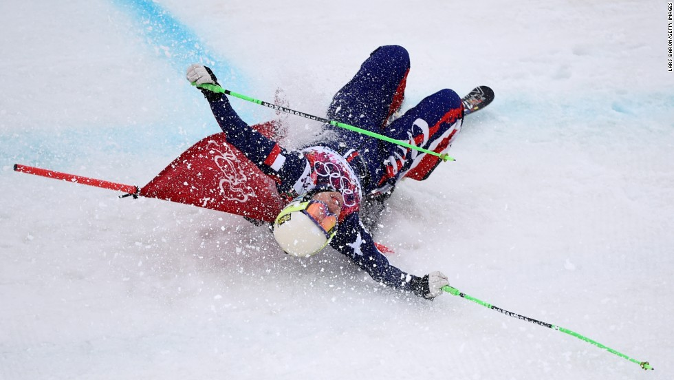 Stephanie Joffroy of Chile crashes in the women's ski cross on February 21.