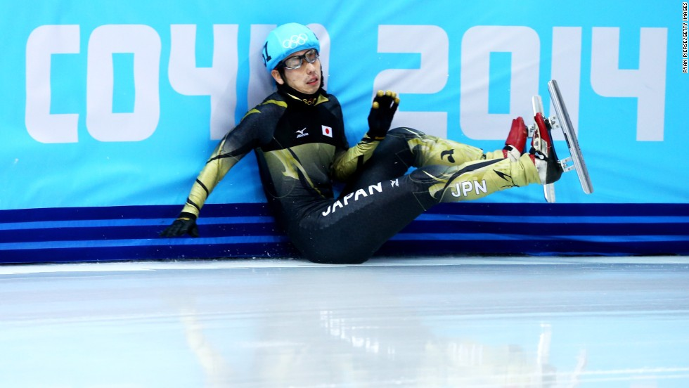 Short track speedskater Satoshi Sakashita of Japan hits the wall during the men's 500 meters on February 21.