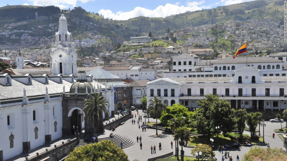 Founded by the Spanish in 1534, Ecuador's capital city of Quito was the first capital city to be named to the UNESCO World Heritage List. Quito's Plaza Grande square is shown here.