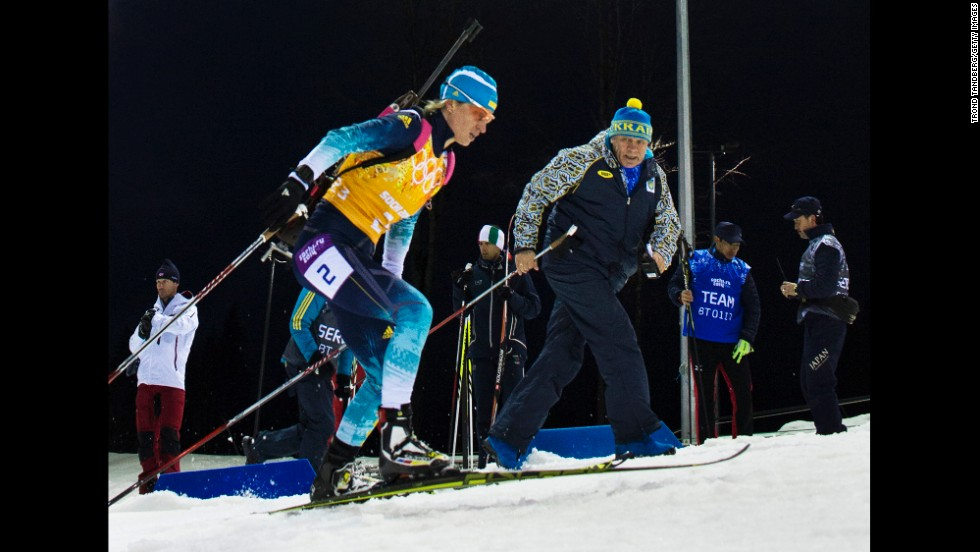 Ukrainian biathlete Valj Semerenko competes in the women's team relay on February 21.