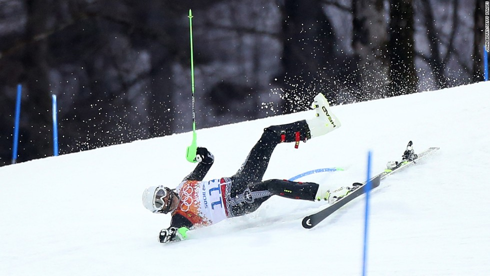 Prince Hubertus von Hohenlohe of Mexico goes down in the first run of the men's slalom on February 22.