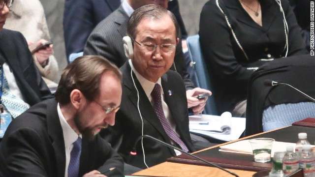 U.N. Secretary General Ban Ki-moon listens as Jordan's Ambassador to the United Nations Prince Zeid Ra'ad Zeid Al-Hussein, speaks after a U.N. Security Council vote on the Syria humanitarian crisis.