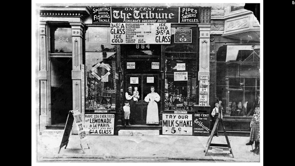 A soda parlor is seen on Chicago's South Western Avenue in 1895. The Chicago Tribune newspaper, shown here being sold for 1 cent, is still in publication today.
