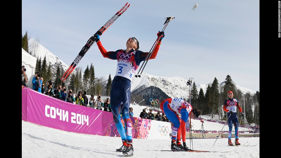 Alexander Legkov of Russia celebrates his win in the men's cross-country skiing 50-kilometer mass start free on February 23.