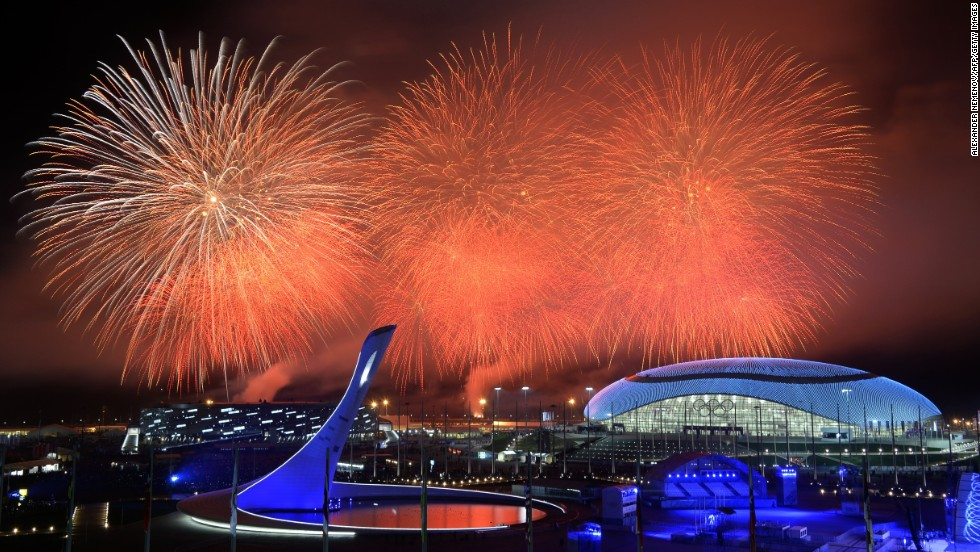 Fireworks explode over the Olympic park at the end of the closing ceremony for the Sochi Winter Olympics on Sunday, February 23.