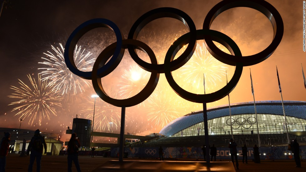 The Olympic rings are lit by fireworks as the closing ceremony comes to an end.