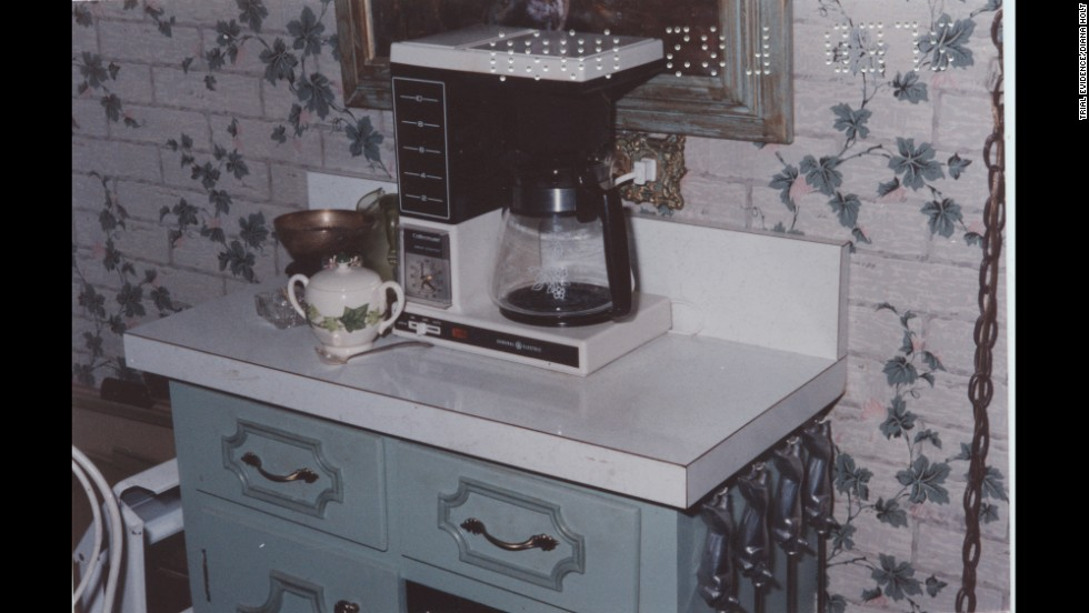 Holloway said this coffee pot was on when he entered the house. It was set to turn on at 6 a.m., suggesting that Edwards was killed after the clock was set and before it turned on. An expert for the defense later testified that Edwards was more likely killed in the afternoon.