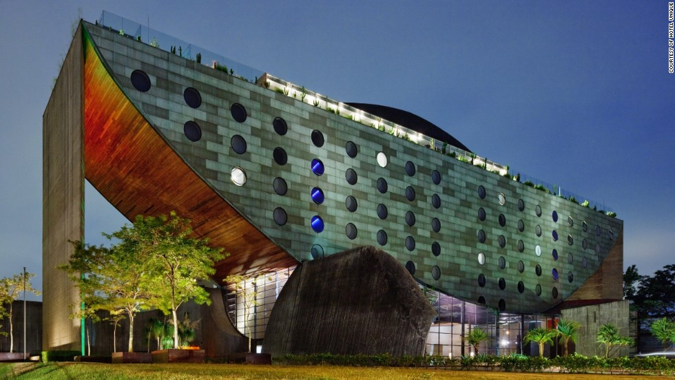 Hotel Unique in Sao Paulo, Brazil, doesn't really have amenities dedicated to play, but its architecture gives it whimsy that deserves a nod.