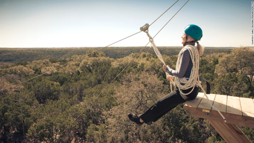 Travaasa in Austin, Texas, offers scenic zip-line views over the Balcones Canyonlands Preserve.