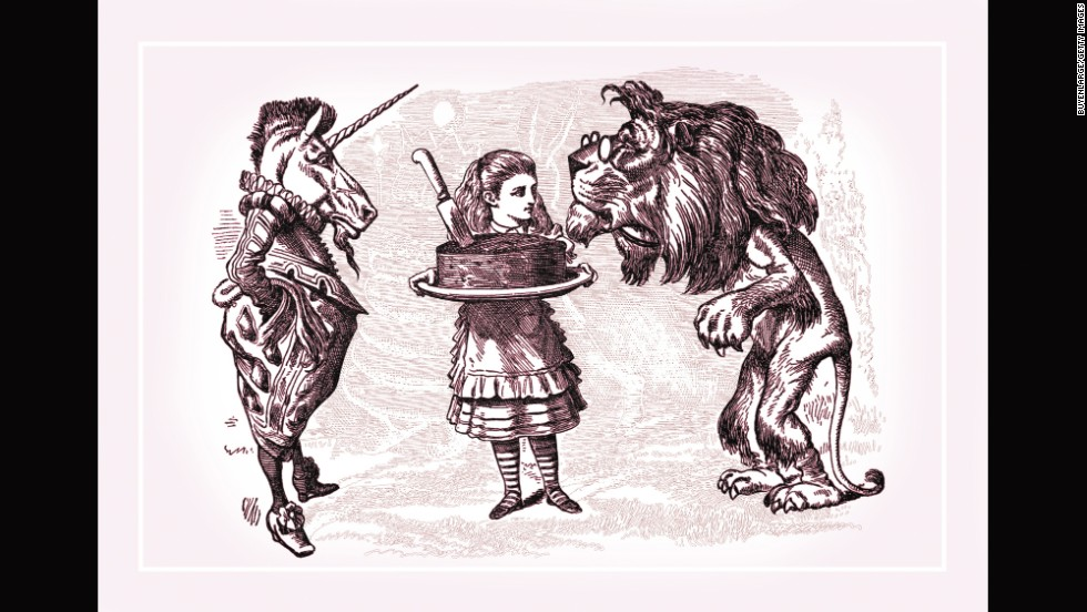 "This Tenniel illustration from ""Through the Looking Glass""  is titled ""Alice, Lion, Unicorn and Cake."""