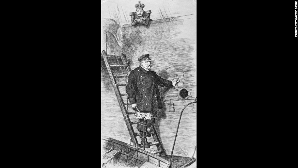 "Tenniel was also a well known political cartoonist.  In his famous cartoon ""Dropping the Pilot"" he depicts German Chancellor Otto von Bismarck as a ship's pilot leaving a ship, watched by a crowned figure representing the Kaiser.  Bismarck had just resigned as chancellor at the demand of German Emperor Wilhelm II, as their political views were too different for Wilhelm."
