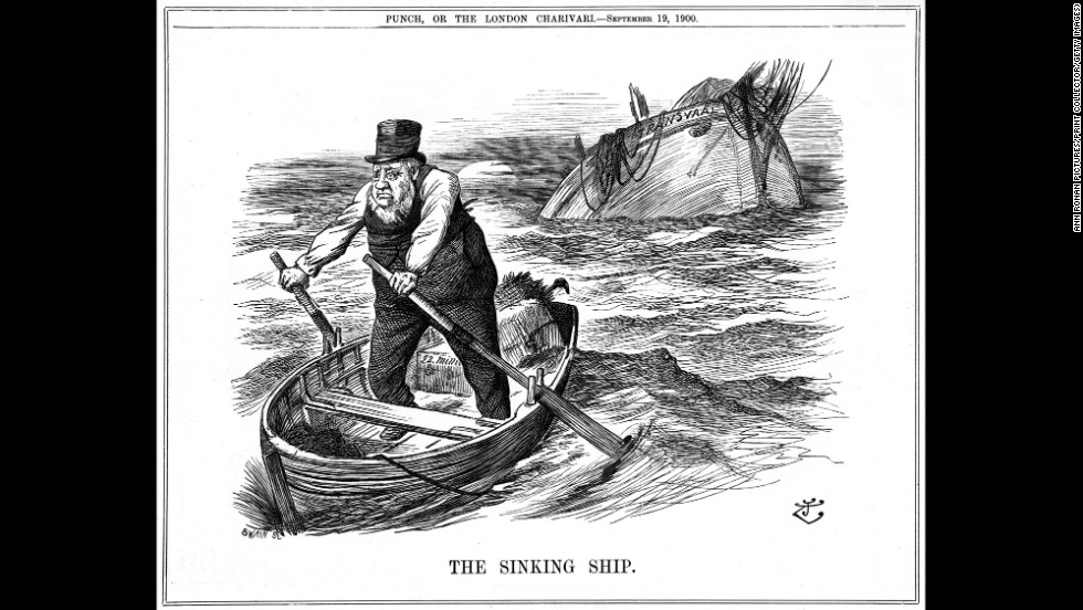 """The Pilgrim's Rest"" depicts South African politician Paul Kruger rowing away from the sinking ship representing the Transvaal. Kruger moved to the Netherlands after being too old and sickly to fight in the second Boer War, which ended with a British victory and the annexation of both independent South African republics by the British Empire"