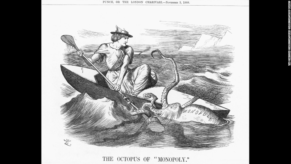 "The 1888 illustration ""The Octopus of Monopoly"" depicts commerce battling the octopus labeled ""monopoly."" The little boat, Free Competition, is being pulled under the waves by the tentacles of copper, salt, iron, coal and cotton. English Industry was finding it increasingly difficult to obtain those materials because they were under near monopoly control."