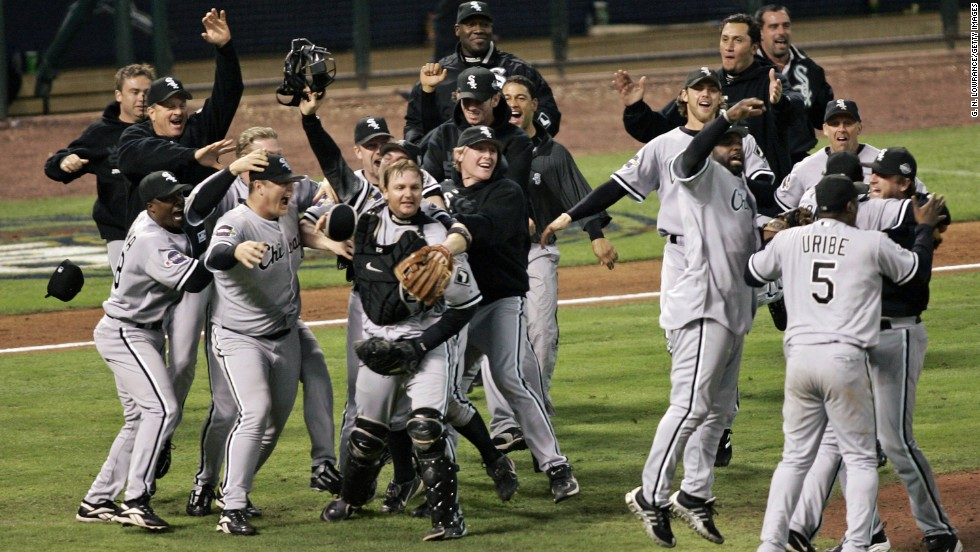The Chicago White Sox celebrate after winning the 2005 World Series with a four-game sweep over the Houston Astros. It was the team's third World Series title and first since 1917.