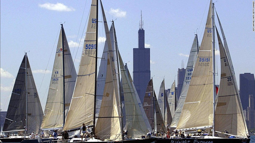 Against the backdrop of Chicago's Sears Tower, sailboats are set for the start of the Chicago Yacht Club Race to Mackinac in July 2003. It is the world's longest annual freshwater race, having started in 1898.