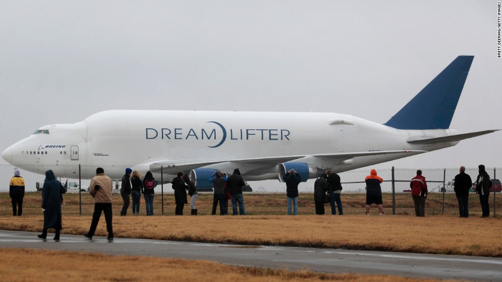 The Boeing Dreamlifter is a modified 747-400 passenger airplane that can haul more cargo by volume than any other jet in the world. Boeing has a fleet of four Dreamlifters, which it primarily uses to transport the large composite structures of the 787 Dreamliner from partners around the world to Everett, Washington for final assembly.