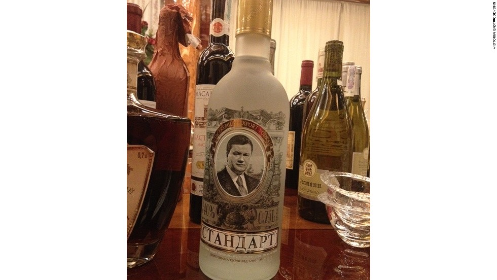Pictured is a bottle of the former President's own vodka.For now, Parliament Speaker Oleksandr Turchinov will take over Yanukovych's duties and has promised a new interim government by Tuesday and new elections in May.