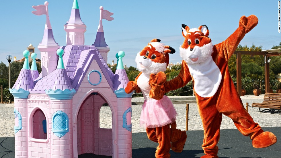 Mascots Rosita and Rafi make appearances at the family-friendly Martinhal Resort in Portugal's Algarve region.