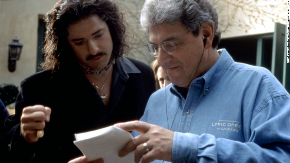 "Actor Brendan Fraser consults with director Ramis on the set of ""Bedazzled"" in 2000."