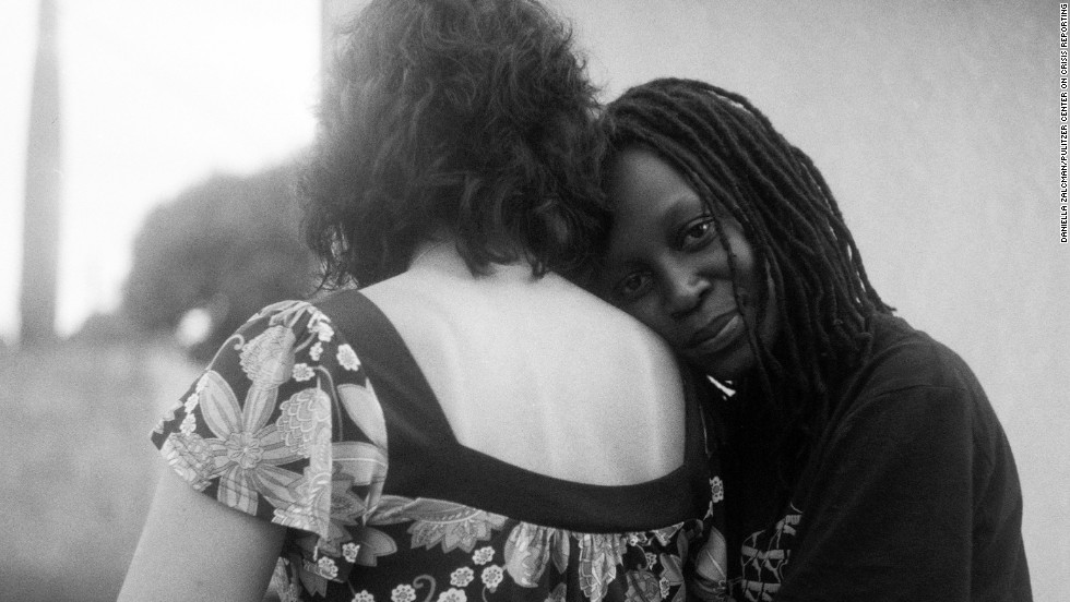 In 2011 and 2014, photographer Daniella Zalcman travelled to Uganda to photograph gay rights activists and their partners, supported by a grant from the Pulitzer Center. This is Kasha Nabagesera, one of the leading LGBT activists in Uganda, with her partner, an Italian woman, also a gay rights activist.
