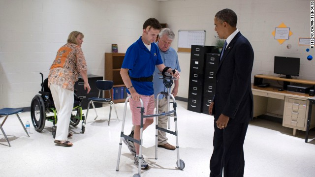 President Barack Obama meets privately with wounded soldier Army Ranger SFC Cory Remsburg, at Desert Vista High School in Phoenix, Ariz., on Aug. 6, 2013.