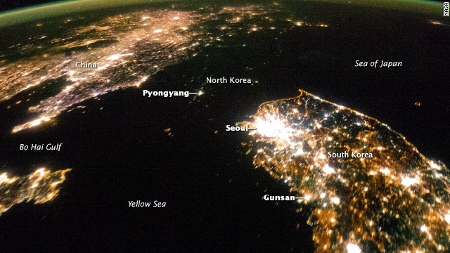 Flying over East Asia, astronauts on the International Space Station (ISS) took this night image of the Korean Peninsula.