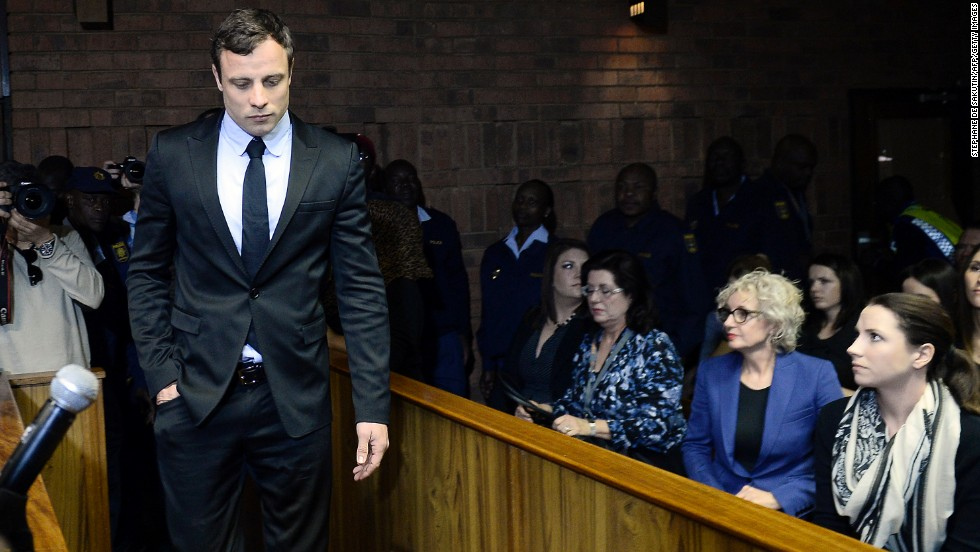 "South African sprinter Oscar Pistorius was charged with murdering his girlfriend, model Reeva Steenkamp, in February 2013. Pistorius, the first double-amputee runner to compete in the Olympics, was convicted of murder and <a href=""http://www.cnn.com/2016/07/06/africa/oscar-pistorius-sentence/index.html"" target=""_blank"">sentenced to six years in prison.</a>"