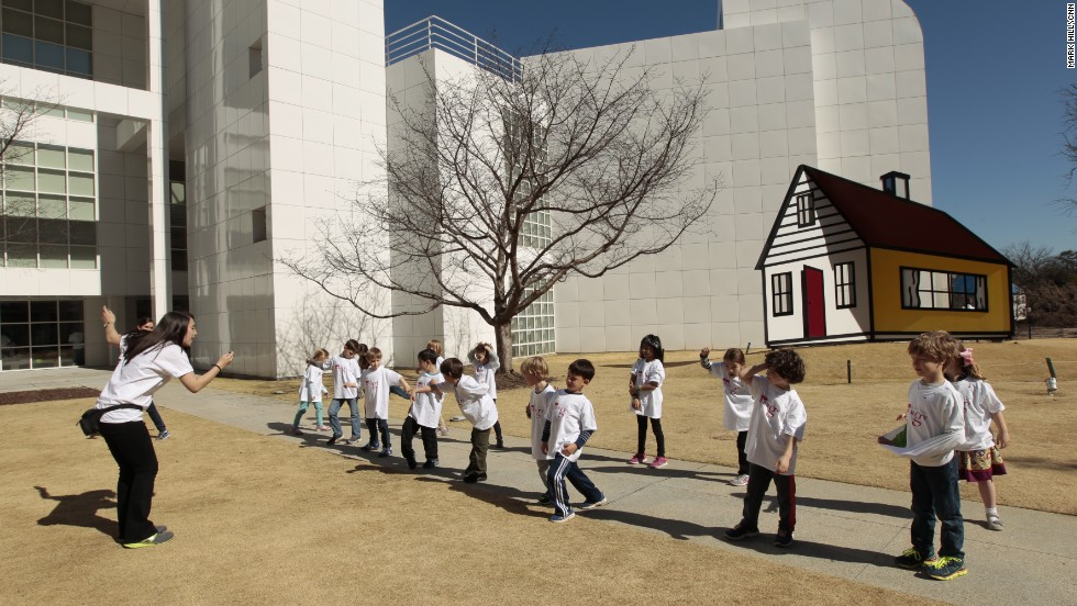 Lindy Shoemaker's class learns about the planets in the courtyard of the High Museum. Galloway students continued their studies in art, music, drama, history, geometry and physics while at the museum.