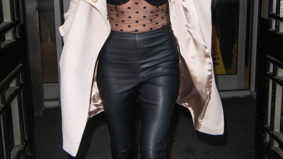Ellie Goulding tries out the sheer trend while visiting BBC Radio One on February 25.