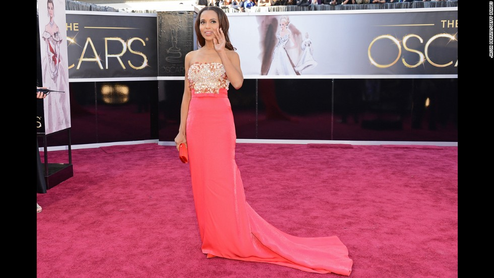 "Kerry Washington's 2013 Oscars dress wasn't quite red, but it was just as show-stopping. The coral dress from Miu Miu was accented with a gold bodice, which helped the ""Django Unchained"" actress steal the spotlight, Oscar nod or no."