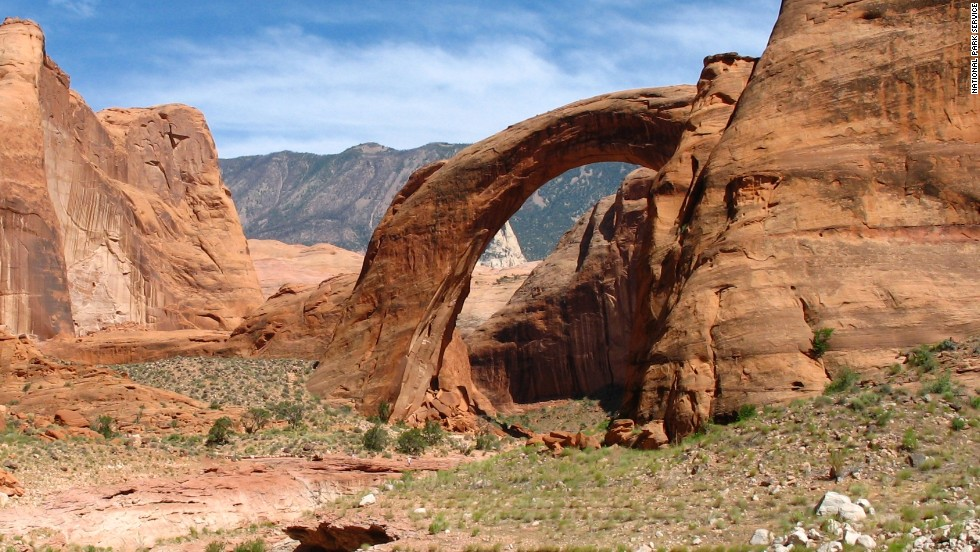 <strong>Tallest natural bridge in U.S.:</strong> Rainbow Bridge National Monument, Utah. The bridge is 290 feet tall.