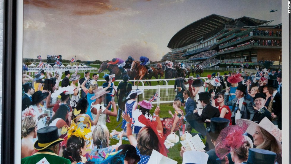 David Mach has brought to life the magic of British racecourse Royal Ascot over the past few decades in a colorful collage made up of 200 photographs.